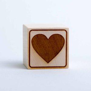 Holzwürfel Motiv Herz positiv
