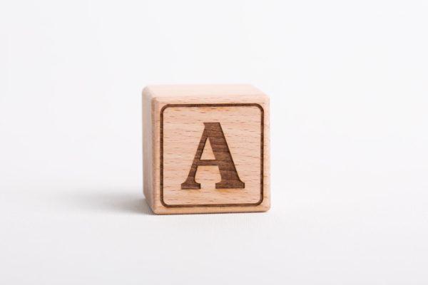 Holzwürfel A positiv gelasert