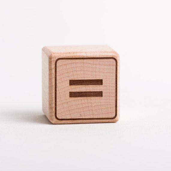 """Holzwürfel mit Zeichen """"="""" - positiv (eingelasert)"""