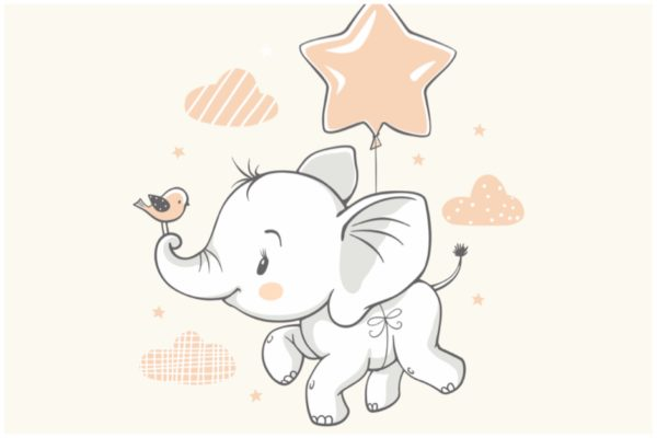 Elefant mit Sternballon